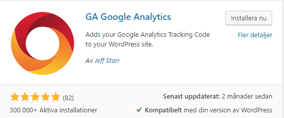 Google analytics Plugin för WordPress